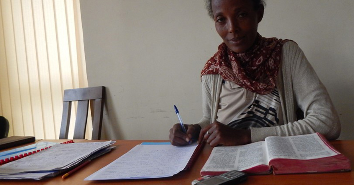Ethiopian translator Mamitu hard at work