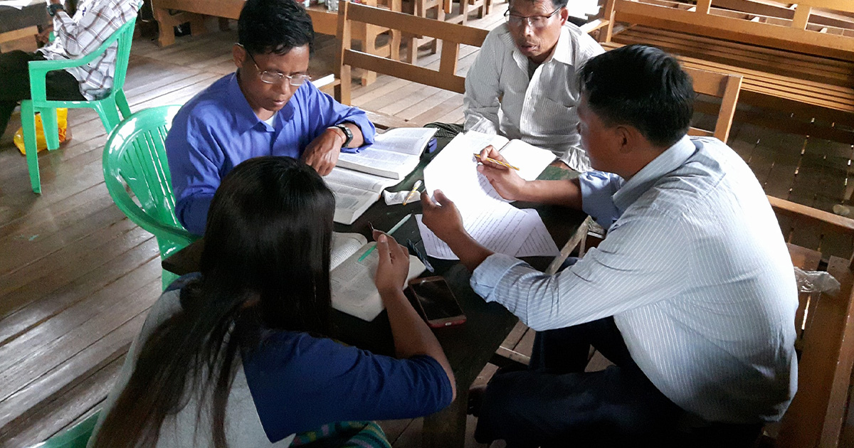 Translators in Myanmar completing their first New Testament